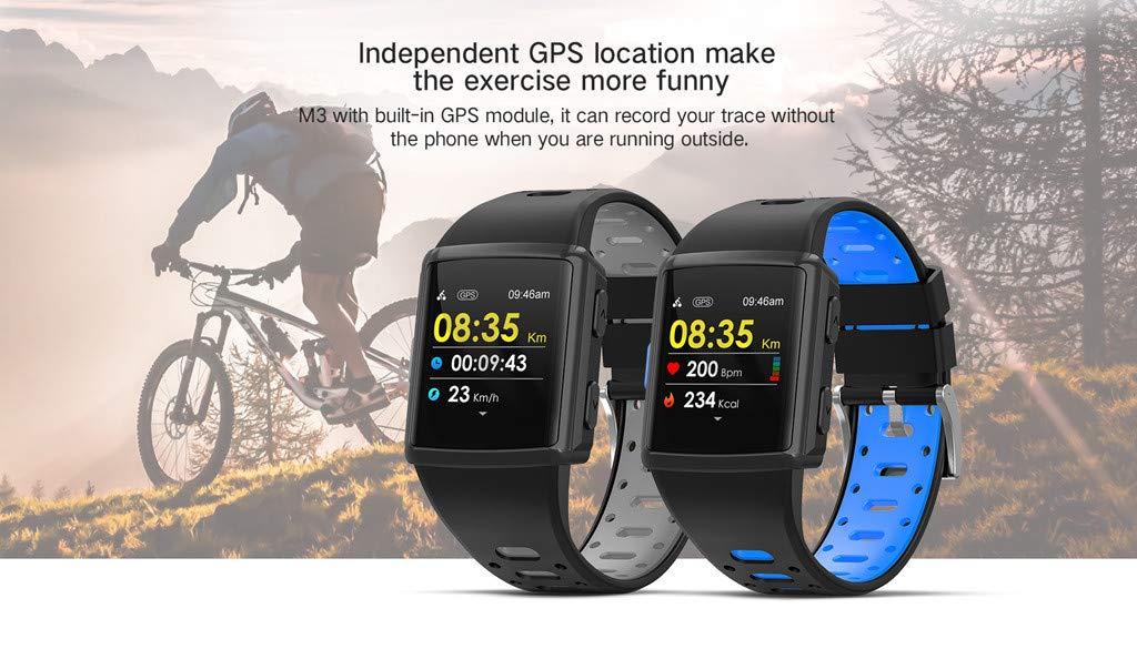 YNAA for iOS Android, Waterproof Sport Smart Watch, Smart Bracelet Blood Pressure Heart Rate Monitoring Tracker GPS Watch (Gray) by YNAA (Image #6)
