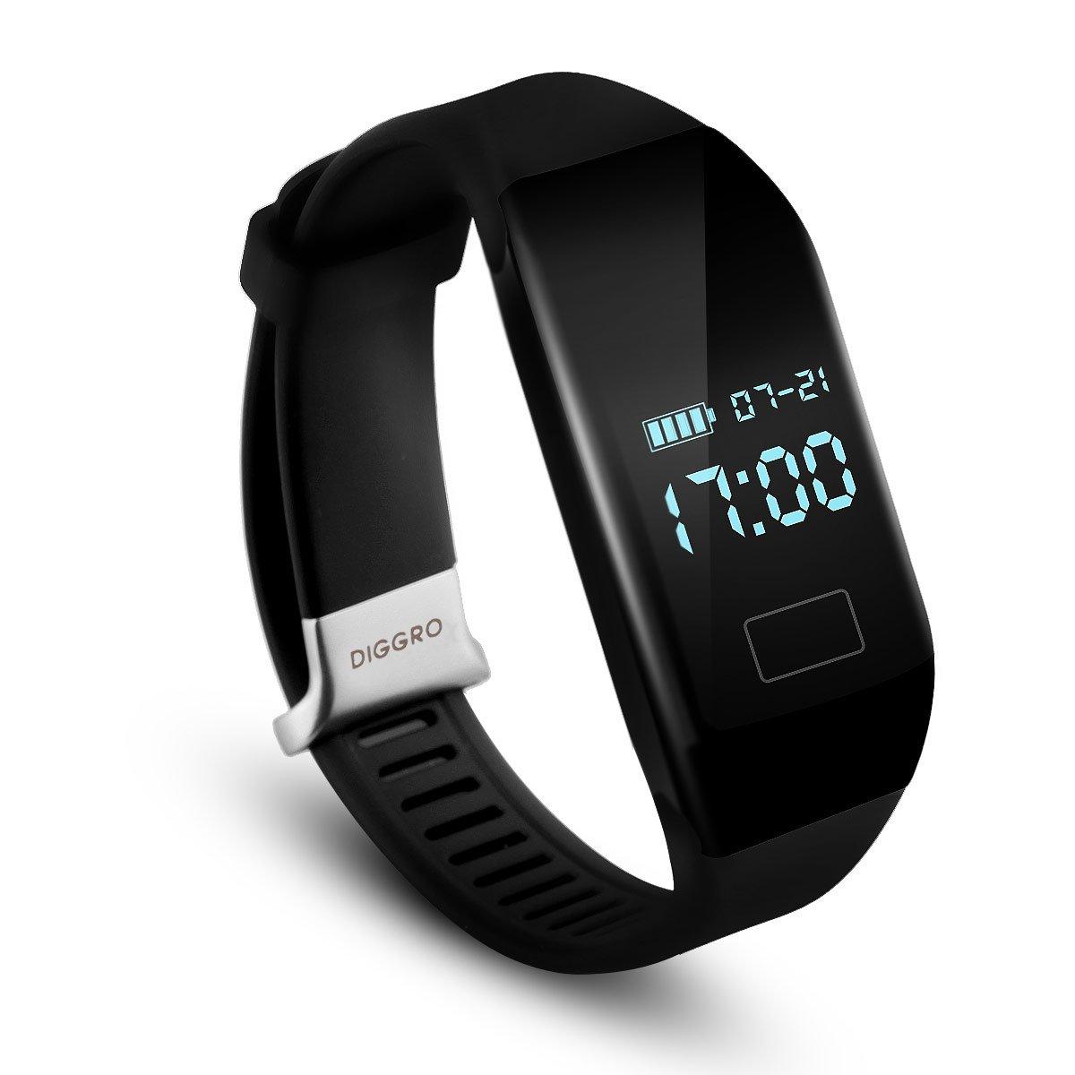 Diggro H3 - Ajustable Smartwatch Pulsera de Actividad (Impermeable IP65, OLED, Bluetooth 4.0, Podómetro, Ritmo Cardíaco, Calorias, Monitor de Sueño, ...