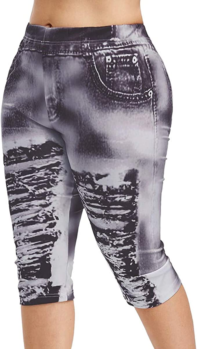 FKSESG Yoga Pants Women High Waist Yoga Pants Plus Size 3D Ripped Jean Print Legging
