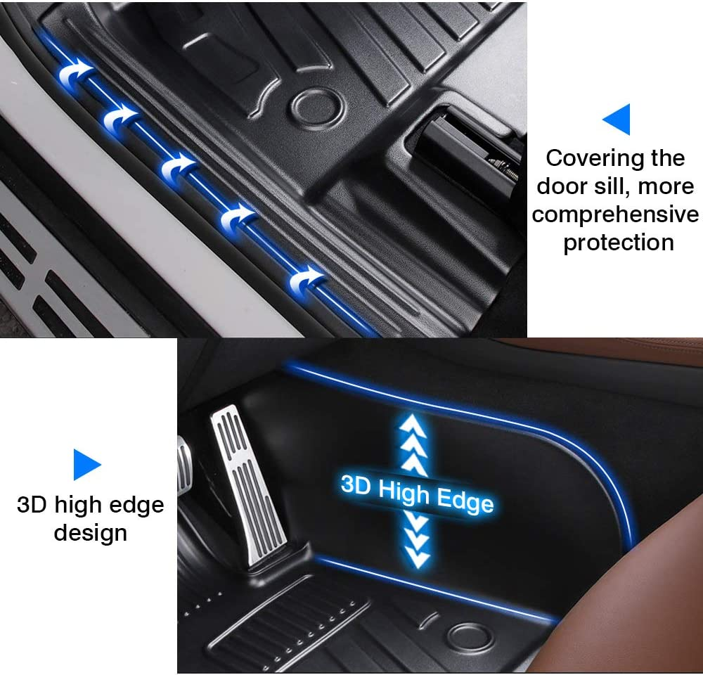 Mixsuper Floor Mat Custom Fit All Weather 5D Protect Covered The Door Sill Durable Odorless Carpet Liner Set for 2018-2021 BMW X3