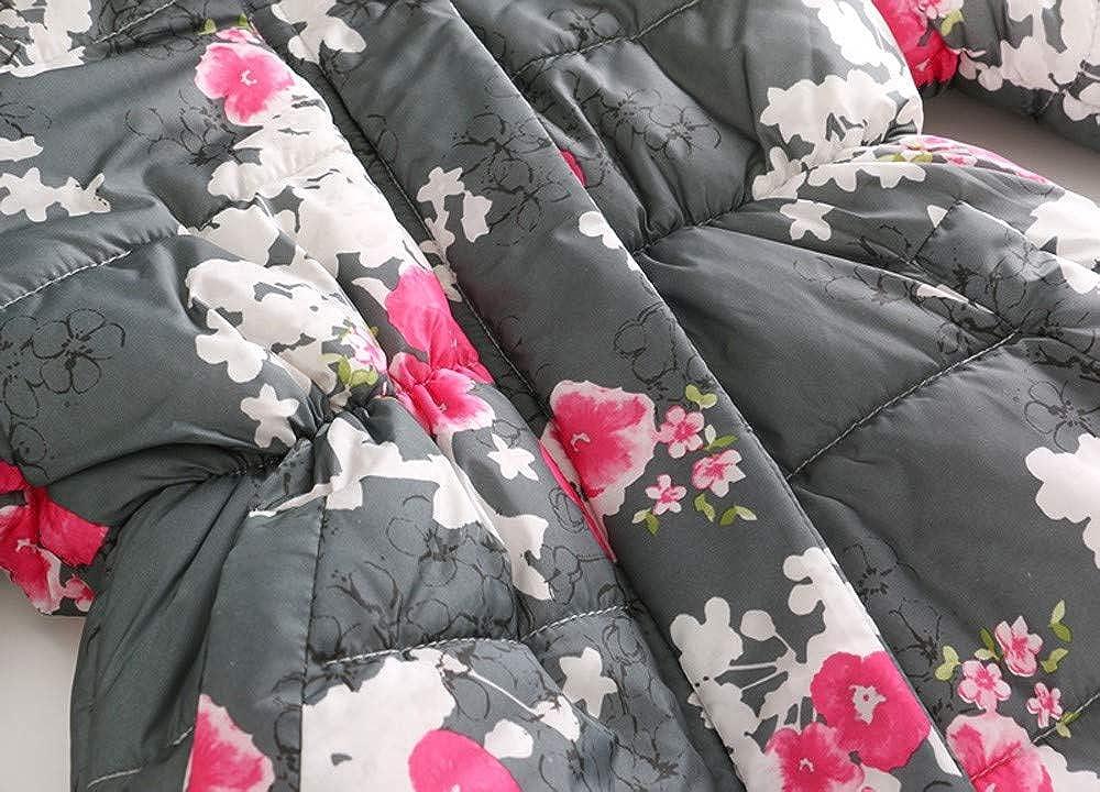 KONFA Teen Toddler Baby Girls Winter Warm Clothes,Fur Hooded Cotton Jacket Wind Coat,Kids Floral Print Snowsuit Set