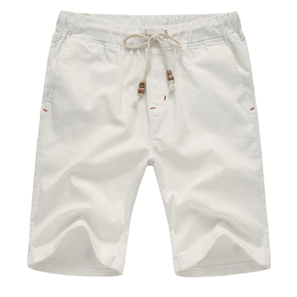 WEUIE Mens Linen Casual Classic Fit Short Pants Drawstring Summer Beach Shorts with Elastic Waist and Pockets