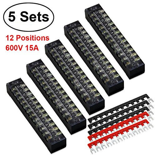Jumper Bar - 10pcs(5 Sets) Terminal/Barrier Strips - 5pcs 12 Positions 600V 15A Dual Row Screw Terminal Blocks with Cover + 5pcs 400V 15A 12 Positions Pre-Insulated Terminal Barrier Strip(Black/Red) by MILAPEAK