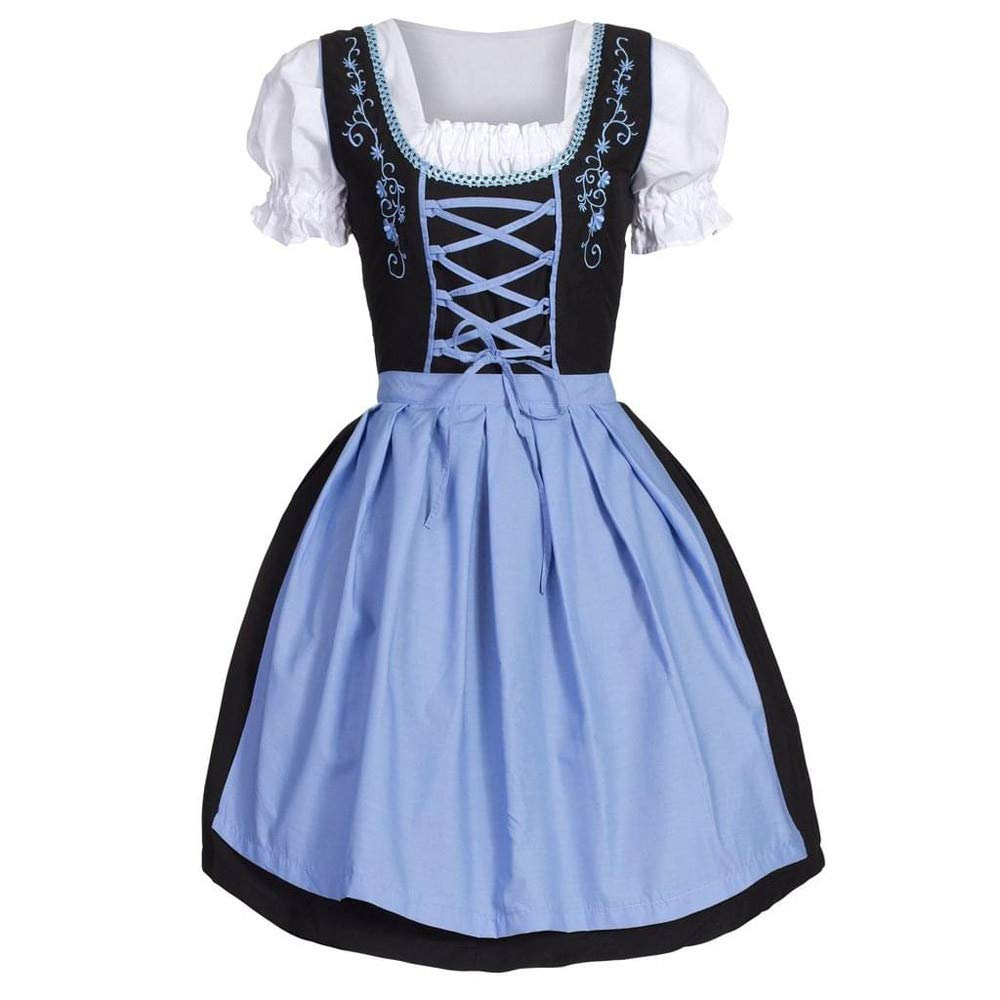 Fitfulvan Women's Oktoberfest Costume Bavarian Beer Girl Maid Dress(Blue,Asian XL = US L)
