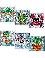 HUBENDMC 6 Pieces Of 5D DIY Children's Diamond Painting Round Diamond Cartoon Animal Series Rhinestone Mosaic Home Decoration Children's Gift(7.08x7.08in)