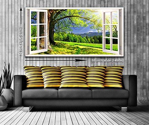 Blick aus dem fenster land  Land Landschaft Blick aus dem Fenster Panorama Wandbild auf ...