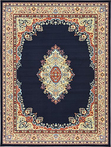 A2Z Rug Traditional Navy Blue 10' x 13' Mashad Collection Area rug Perfect for any floor & Carpet