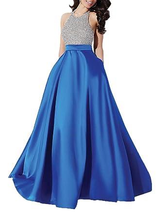 YORFORMALS Women\'s Halter A-Line Beaded Satin Evening Prom Dress ...