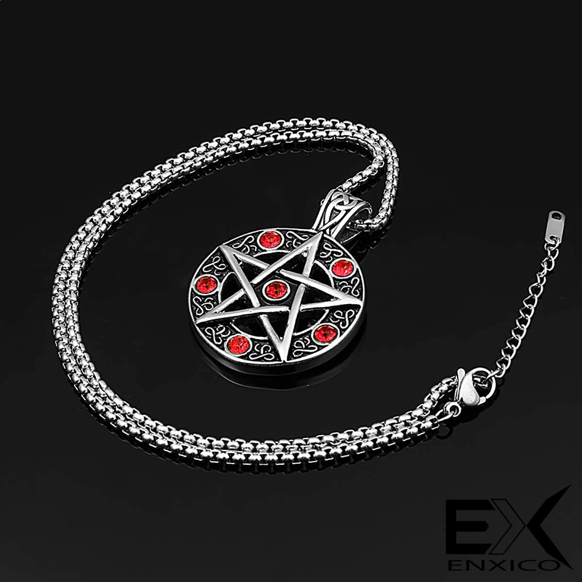 ENXICO Pentacle Amulet Pendant Necklace with Blue Stone 316L Stainless Steel Wicca Pagan Witchcraft Jewelry