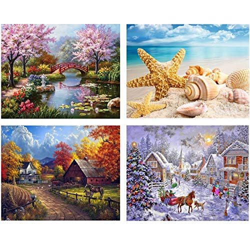 Topus 4 Pack DIY 5D Diamond Painting Kit Full Diamond Painting Four Seasons Landscape Rhinestone Embroidery Painting for Home Wall Decoration (20X30CM / 7.8X11.8inch)