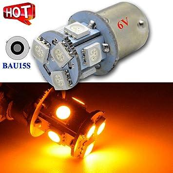 Ruiandsion BAU15S - Bombilla LED de repuesto para luz de marcha atrás, 6 V, 5050, 8 SMD, color amarillo: Amazon.es: Coche y moto