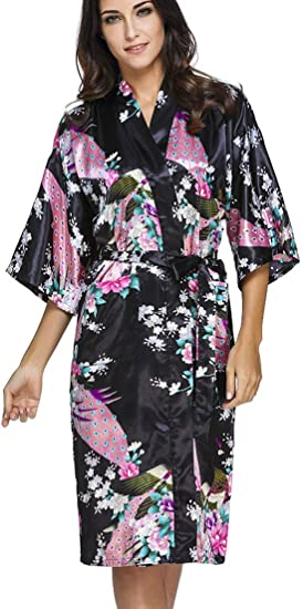 OLIPHEE Mujer Vestido Kimono Floral Satén Largo Pijamas h-M: Amazon.es: Hogar