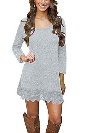 662ae4255c9 Our Precious Women's Casual Long Sleeve Lace Hem A-Line Shirt Dress Tunic  Tops Grey