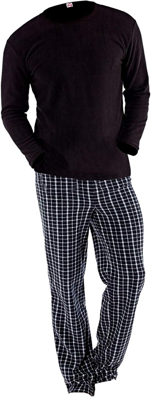 Pigiama da uomo a maniche lunghe in pile termico con pantaloni a quadri
