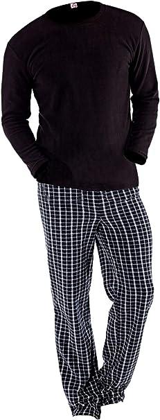 Conjunto de pijama de manga larga y suave con forro polar térmico para hombre