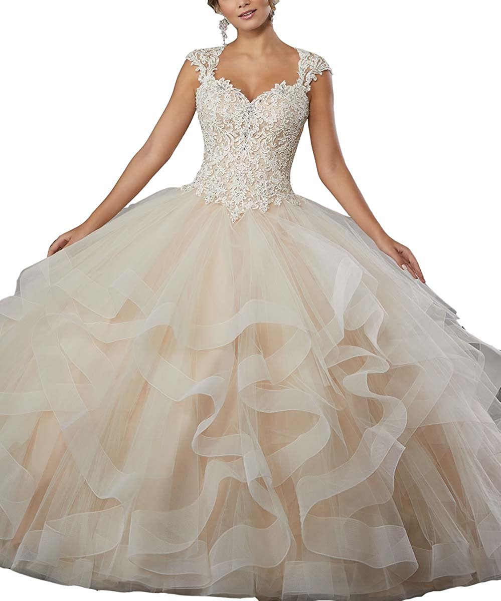 Champagne LastBridal Women Sweetheart Crystal Beading Sleeveless Lace Up Ball Gown Quinceanera Dresses LB0005 Champagne