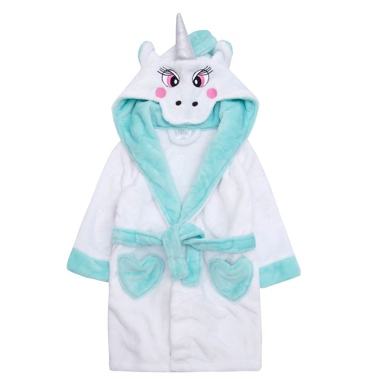 Childrens Kids Girls Unicorn Hooded Robe Dressing Gown Wings Heart Pockets Pink 2-3
