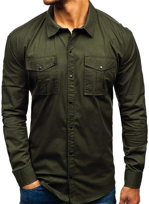 Double Pockets Fashion Mens Military Casual Dress Shirt Army Work Shirt  UK