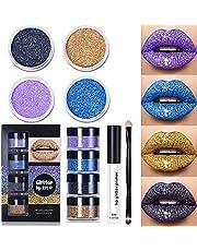 Glitter Lip Kit Vloeibare lippenstiftset, 4-kleuren Diamond Glitter Metallic Lipstick-set, Glitter glanzende lippenstift, veegvaste en langdurige set met lipprimer en borstel, voor dames en meisjes