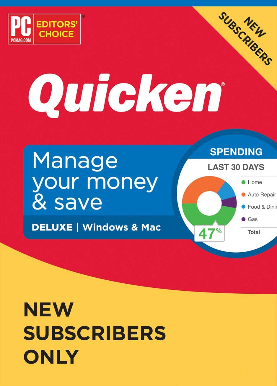 Quicken Deluxe NEW Subscriber Personal Finance – Manage your money with your First Year Subscription to Quicken (Windows/Mac)