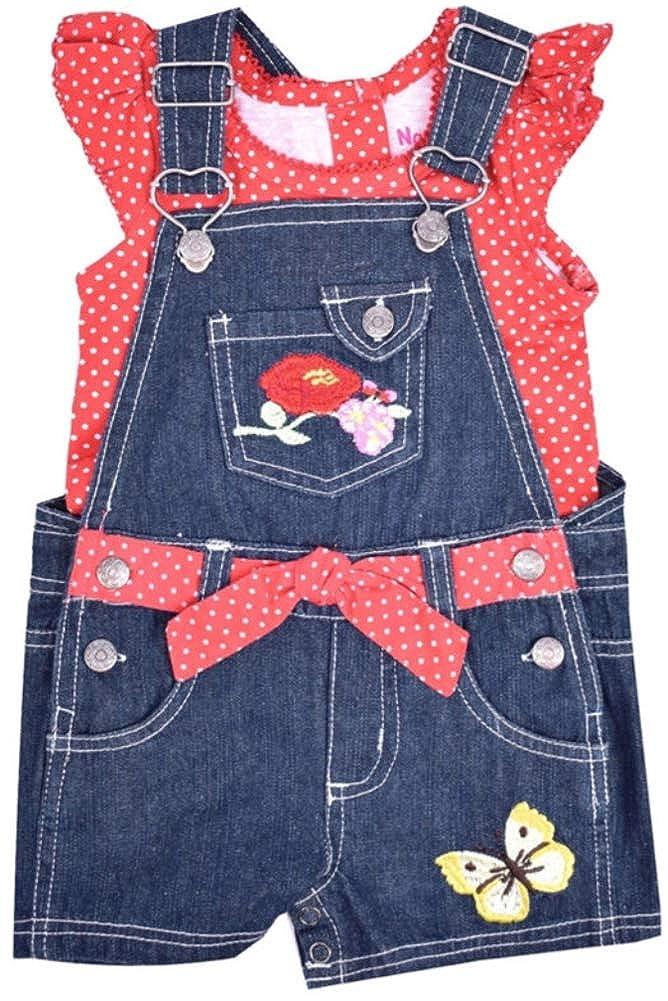 Polka-Dot Top /& Shortall Set Blue Red Nannette Baby Girls 2-pc