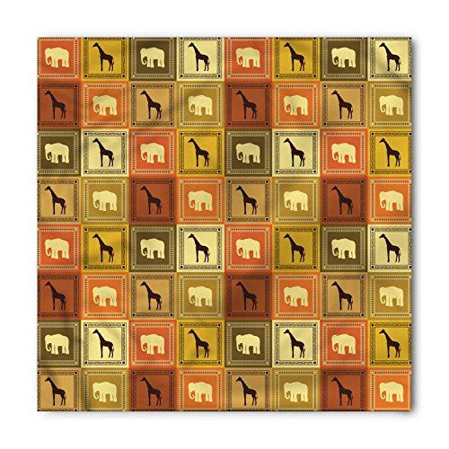 Bandana Frame - Ambesonne Unisex Bandana, African Savanna Animal Frames, Yellow Orange
