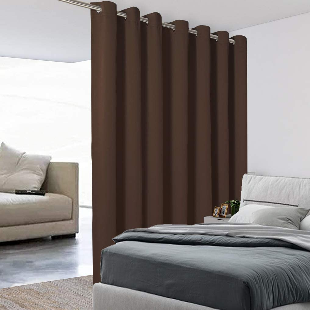 BONZER Extra Wide Room Divider Curtain Screen Partitions Total Privacy Wall Noise Reducing Blackout Curtains for Home Theatre, Storage, 15ft Wide x 9ft Tall, 1 Panel, Chocolate