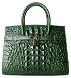 Pijushi Embossed Crocodile Purse Genuine Leather Satchel Handbags Office Padlock Bag Holiday Gift 9016(30cm Green Croco)