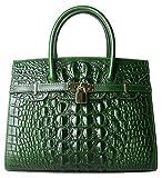 PIJUSHI Women Purses And Handbags Crocodile Top Handle Satchel Bags Designer Padlock Handbags (9016 Green)