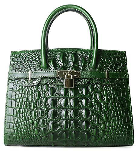 Pijushi Embossed Crocodile Purse Genuine Leather Satchel Handbags Office Padlock Bag Holiday Gift 9016(30cm Green Croco) by PIJUSHI