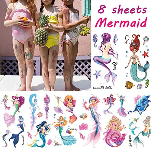 CARGEN® 8 Sheets Children Waterproof Mermaid Assorted Temporary Tattoo Birthday Party Favors Supplies Arm Hand Tattoos…