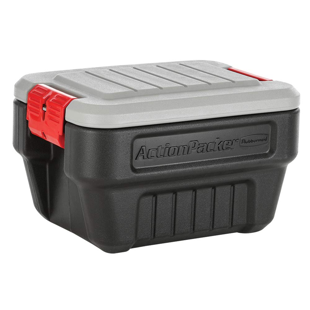 Rubbermaid ActionPacker️ 8 Gal Lockable Storage Bins Pack of 4, Industrial, Rugged Storage Containers with Lids