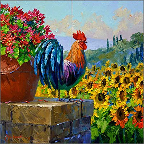 Rooster Art Tile Mural Backsplash Morning Sentinel by Mikki Senkarik Ceramic Kitchen Shower Bathroom (8.5
