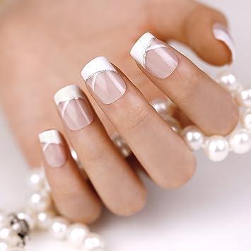 Amazon.com : ArtPlus 24pcs Elegant Touch French Manicure False Nails with Glue Full Cover Medium Length Fake Nails Art : Beauty