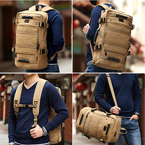 XINCADA Backpacks Vintage Canvas Backpack Travel Backpack Military Tactical Backpack Hiking Camping Daypack Rucksack