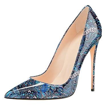be127def46a89 EDEFS Femme Escarpins Sexy Talon Aiguille Colorful Brillant Chaussures Fête Club  Soiree Bleu Taille 35