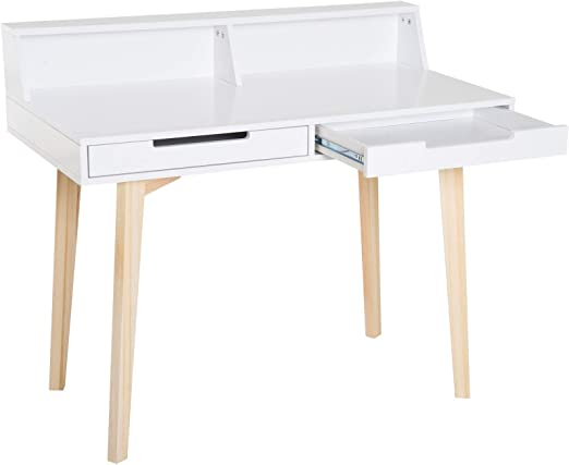 h4homedirect Escritorio pequeño escandinavo con 2 cajones, Mesa de ...