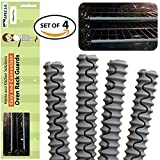 Set of 4 VALUE PACK Silicone Grey Long Oven Shelf Rack Guard Protector Shield from Burns BPA Free and Dishwasher Safe