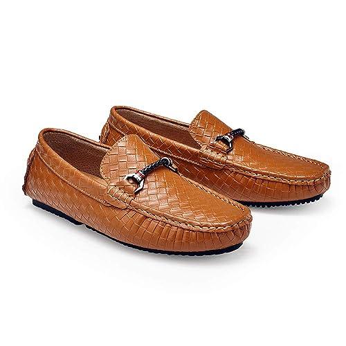 Mocasines de guía para Hombre Casual Mocasines de Barco de auténtica Piel Estilo Británico entrelazados.: Amazon.es: Zapatos y complementos
