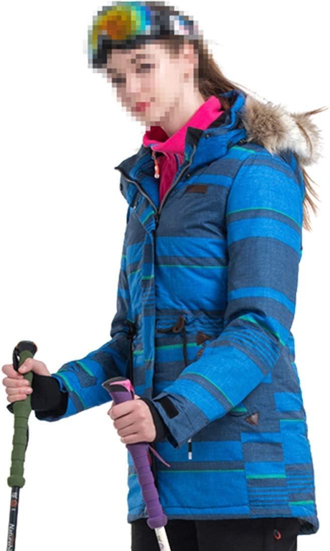 Makecny 女性のマウンテンスキージャケット防水防風暖かい冬のレインコート (色 : 青, サイズ : XXL) 青 XX-Large