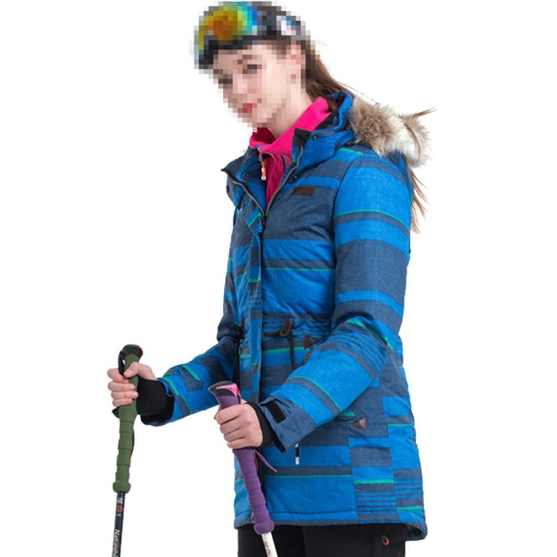 KAKACITY 女性のマウンテンスキージャケット防水防風暖かい冬のレインコート (色 : 青, サイズ : XL) 青 X-Large