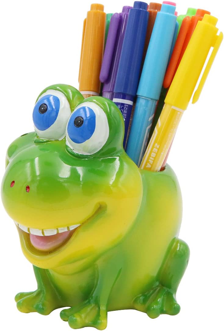 Exquisite Cute Resin Animal Pen Pencil Holder Storage Box Desk Organizer Accessories (Frog)