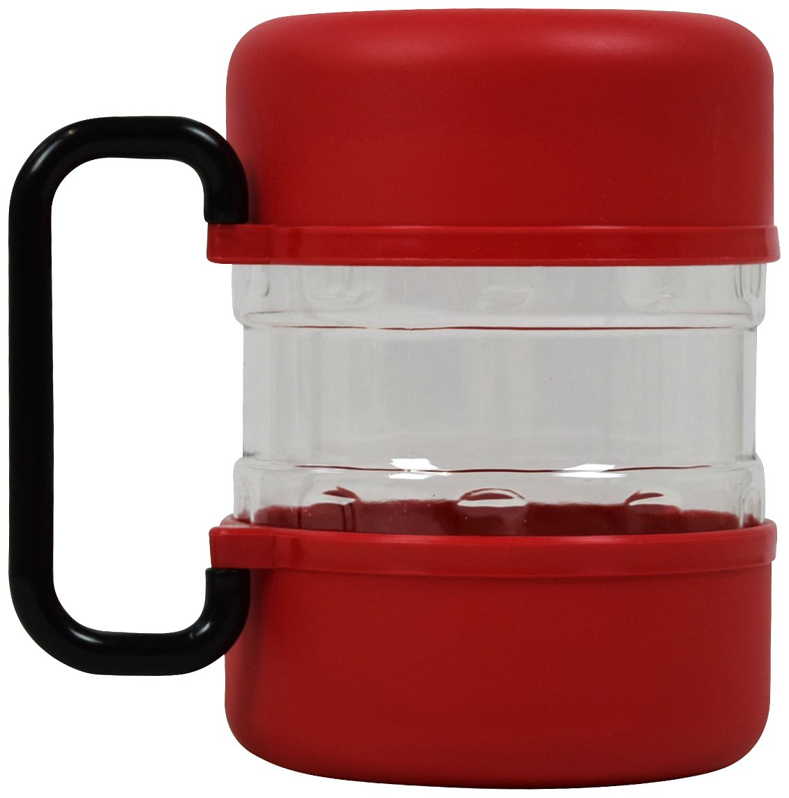 (Red) PET Life Travel Dog Food Container with Detachable Travel Dog Bowls