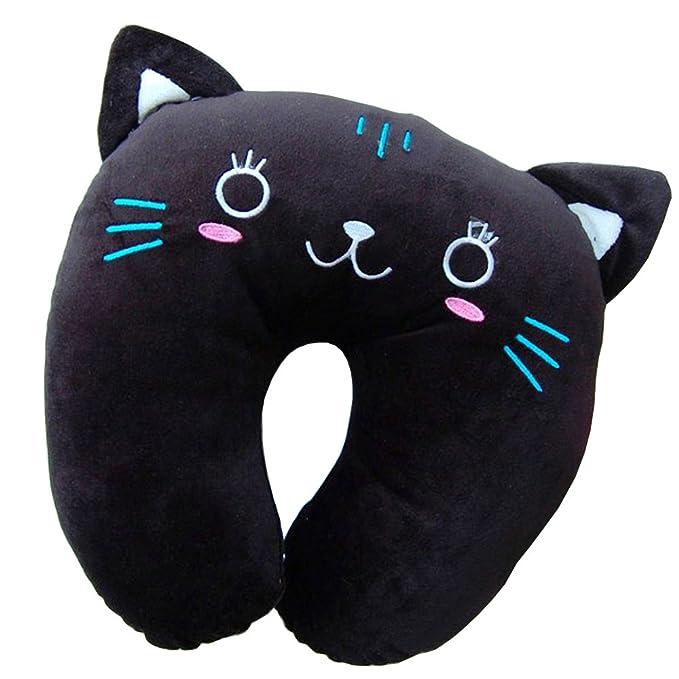 Cartoon Cat U Neck Travel Pillow - Black