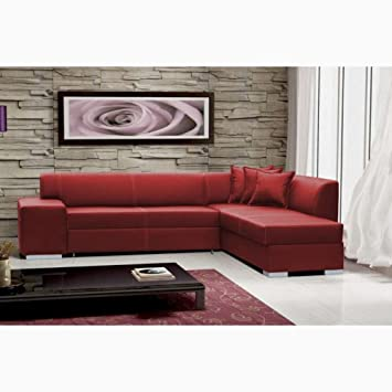 Justyou Toscania Iii Canape D Angle En Cuir Rouge L X P 270 X 210