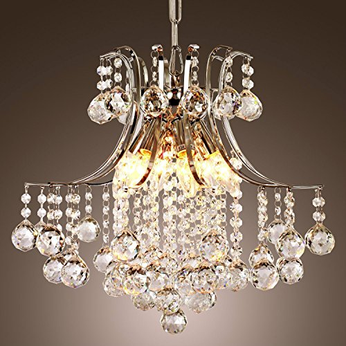 Lightess Modern Crystal Chandelier Pendant Ceiling Light Fixture with 6 Lights
