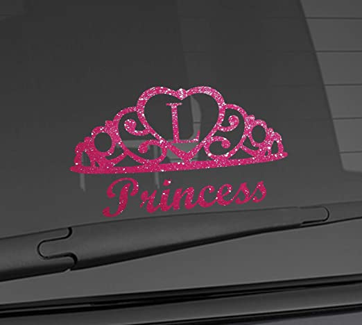 IRON ON TRANSFER OR STICKER PRINCESS TIARA HEART PINK LITTLE GIRL GIFT