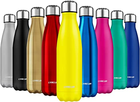 Lyneun Botella de Agua Acero Inoxidable 500ml Office,Camping Reusable Ecological BPA Free Thermos Ciclismo Sport Thermal Bottle for Children /& Adults Senderismo