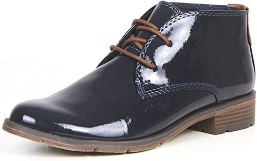 Womens Patent Dark Navy Blue Shoes lace