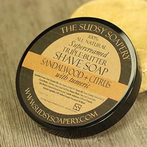 Supercreamed Triple Butter Shave Soap for Shaving, Sandalwood & Citrus with Turmeric